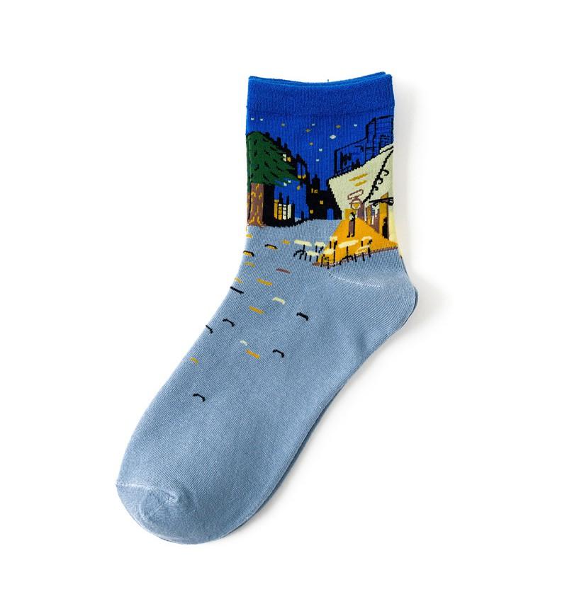 """Moteriškos kojinės """"Kavinės terasa naktį"""""""