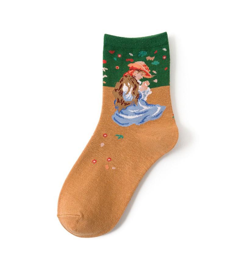 """Moteriškos kojinės """"Marie Therese siuvinėja"""""""