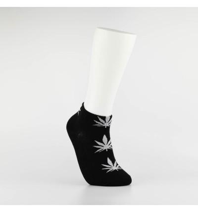 """Kojinės vyrams itin trumpos """"Weed"""" (juoda/balta)"""
