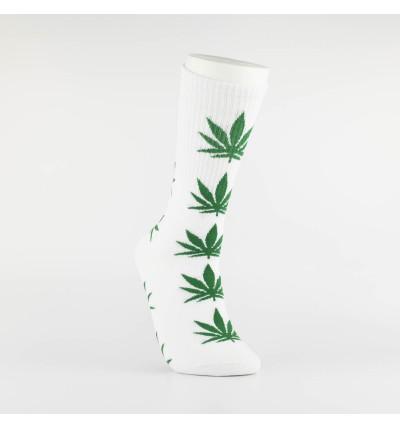 """Kojinės vyrams """"Weed"""" (balta/žalia)"""