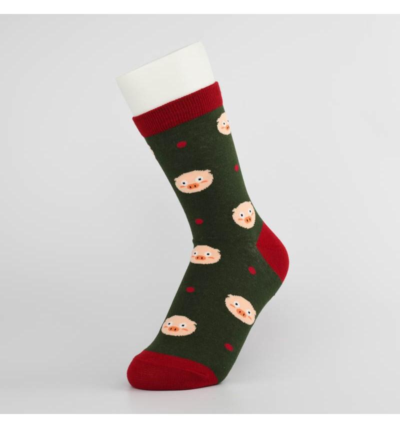"""Moteriškos kojinės """"Kiauliukas"""" (tamsiai žalios)"""