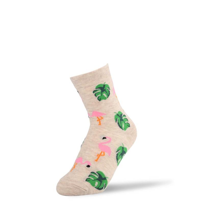 """Moteriškos kojinės """"Rožiniai pelikanai"""" (šviesiai pilkos)"""