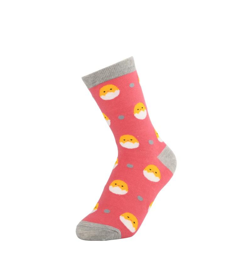 """Moteriškos kojinės """"Viščiukas"""" (rožinės)"""