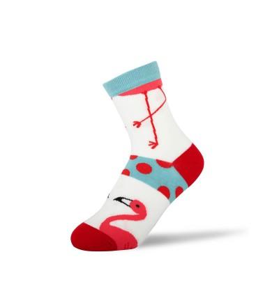 """Moteriškos kojinės """"Flamingai"""" (baltos)"""