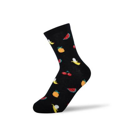 """Moteriškos kojinės """"Vaisiai"""" (juodos)"""