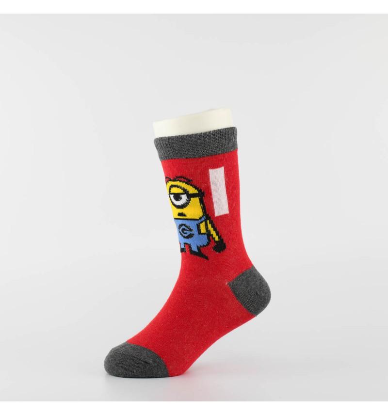 """Vaikiškos kojinės """"Minimukai"""" (3 poros, raudona/pilka)"""