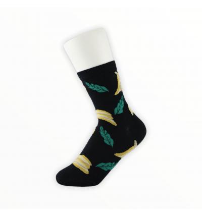 """Moteriškos kojinės """"Bananai"""" (juodos)"""